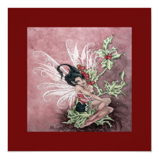 Holly Berry Faery 5.25x5.25 Square Paper Invitation Card