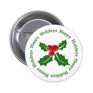 Holly Berry Happy Holidays Button