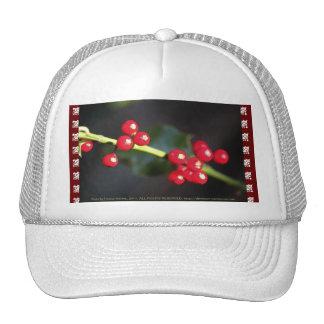 holly berry macro mesh hats