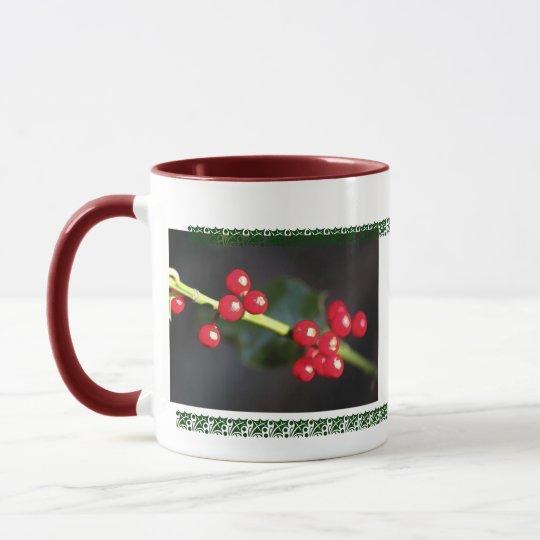 holly berry macro mug