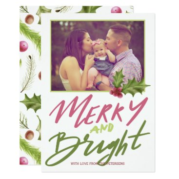 Beach Themed Holly berry merry & bright pink green script photo card