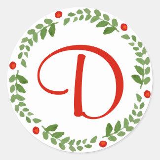 Holly Berry Mistletoe Wreath Monogram Sticker 1