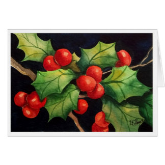 Holly Berry Night Card