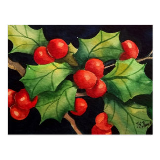 Holly Berry Night Postcard