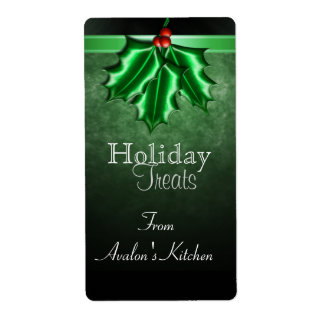 Holly Berry & Ribbon Holiday Baking Label