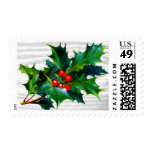 Holly Berry Rustic Christmas Winter Wedding Postage