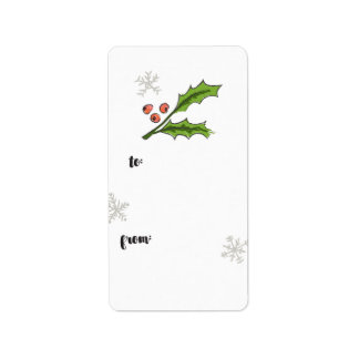 Holly Berry Sprig Gift Tag Label