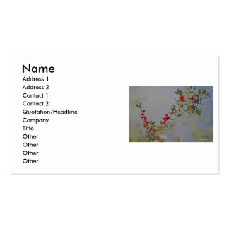 Holly berry stem against grey background business card