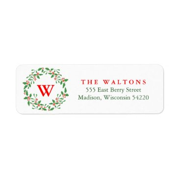 Christmas Themed Holly Berry Wreath return address label