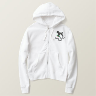 Holly Black Russian Terrier Embroidered Zip Hoodie