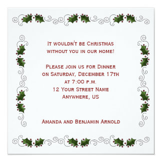 Holly Boarder Christmas Party Invite