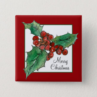 Holly Botanical Drawing Merry Christmas Red Pinback Button