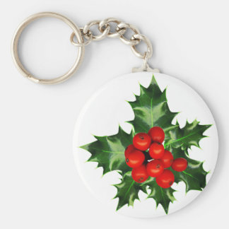 Holly Bough And Berries On White Background Basic Round Button Keychain