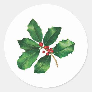 Holly Branch Classic Round Sticker