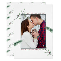 Holly Branches Photo Christmas Card