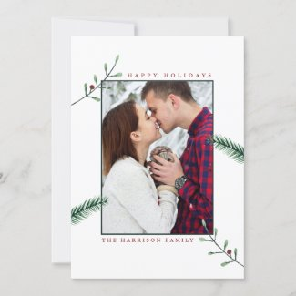 Holly Branches Couples Photo Christmas Card