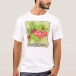 Holly Brand Peaches Vintage Fruit Crate Label T-Shirt