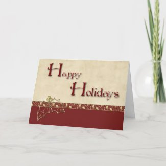 Holly Burgundy Christmas Greeting card