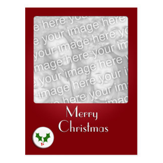 Holly Button Christmas Photo Template Postcard