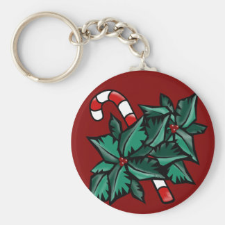 Holly & Candy Cane Basic Round Button Keychain
