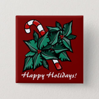 Holly & Candy Cane Pinback Button