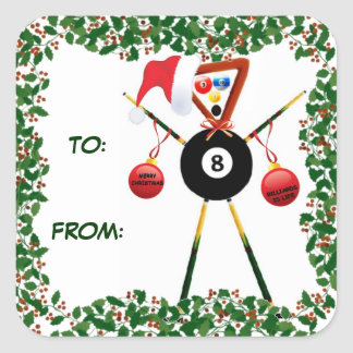 Holly Christmas Billiards Gift Tag Square Sticker