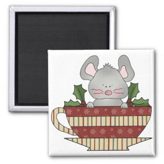 holly christmas cup mouse 2 inch square magnet