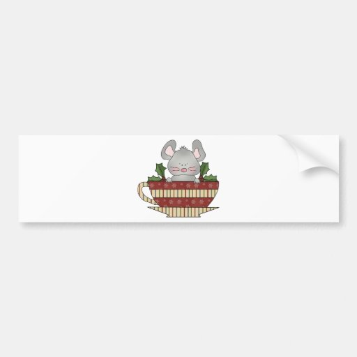 holly christmas cup mouse car bumper sticker