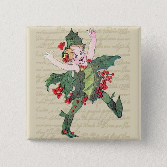 Holly Christmas Fairy Button