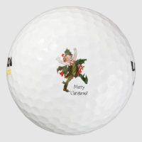 Holly Christmas Flower Child Cute Vintage Floral Golf Balls