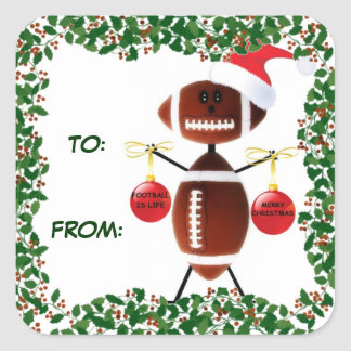 Holly Christmas Football Gift Tag Square Sticker