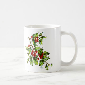 Holly Christmas Mug in Red and Green