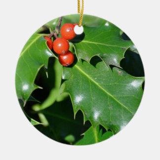 Holly Christmas Ornament