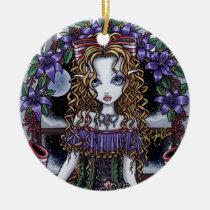 holly, christmas, xmas, party, fairy, purple, flowers, moon, snow, fantasy, myka, jelina, big, eyed, art, Ornament with custom graphic design