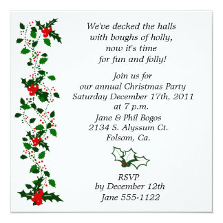 Holly Christmas Party Invite
