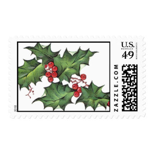 Holly Christmas Postage Stamp at Zazzle