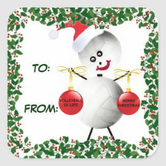 Holly Christmas Volleyball Gift Tag Square Stickers