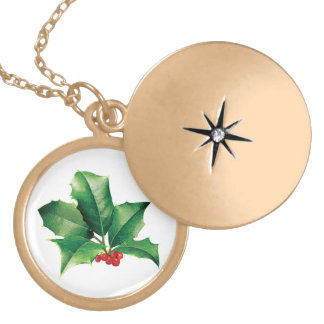 Holly Cluster Round Locket Necklace