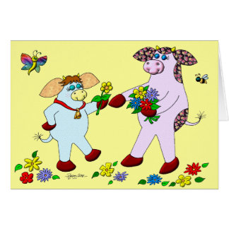 """Holly Cow and Belle """"Celebrate Life!"""" Greeting Card"""