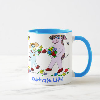 """Holly Cow and Belle """"Celebrate Life!"""" Mug"""