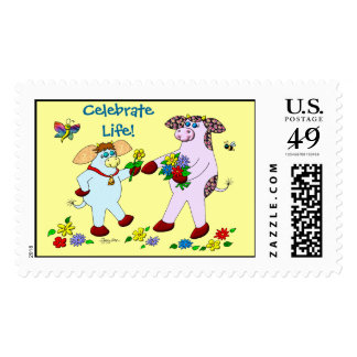 """Holly Cow and Belle,  """"Celebrate Life!"""" Postage"""