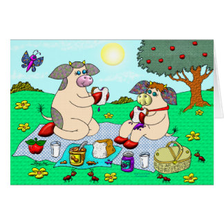 """Holly Cow and Belle Cow, """"Sunshine Picnic"""" Greeting Card"""