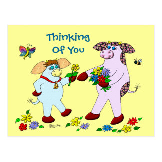 """Holly Cow and Belle """"Thinking Of You"""" Post Cards"""