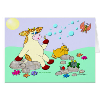 """Holly Cow """"Blowing Bubbles"""" Greeting Card"""