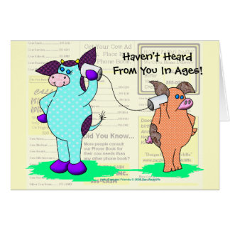 """Holly Cow  """"Call Me!"""" Greeting Cards"""
