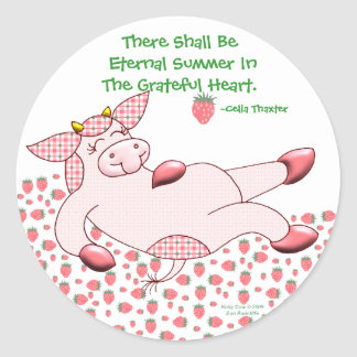 """Holly Cow, """"Grateful For Summer"""" Classic Round Sticker"""