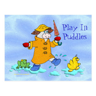 Holly Cow, Play In Puddles Post Card