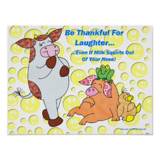 "Holly Cow ""Thankful For Laughter"" Poster"
