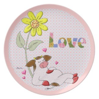 Holly Cow Thoughts Of Love Party Plate