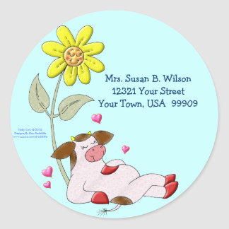 Holly Cow with Flower Classic Round Sticker
